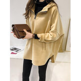 Casual Solid Color Hooded Split Irregular Coats