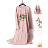 Plus Size Long Sleeve Printed O Neck Comfy Nightgown