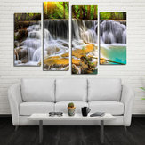 Miico Hand Painted Four Combination Decorative Paintings Ancient Small Waterfall Wall Art For Home Decoration