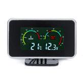 12V-24V 2 In1 LCD Coche Indicador digital Voltaje Presión / Medidor de temperatura del agua con alarma sonora