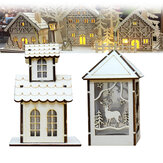 LED Light Wood House Cute Christmas Assembly Party Ornamentos Decorações de férias