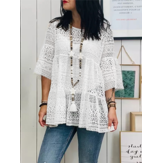 Lace Crochet Hollow Out Round Neck Blouse