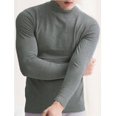 Mens Thermal Underwear T-shirt Long Sleeve High Neck Under Shirts Base Layer Tops