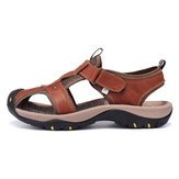 Men's Genuine Leather Roman Sandals Soft Sole Cut-out Moccasins Outdoor Beach Sneakers Casual