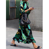 Women Floral Print Ethnic Summer Long Maxi Shirt Dress