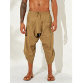 Mens Vintage Solid Color Casual Corduroy Harem Pants