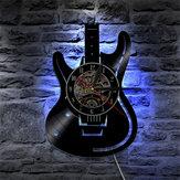 Musikalische Gitarre Vinyl Led Wanduhr Farbwechsel Dekorative Home Vintage Geschenk