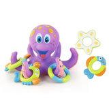 Polvo Flutuante Soft Borracha ABS Brinquedos de Banho do bebê com 5 Anéis de Animais Marinhos Círculo Elenco para o Presente Dos Miúdos
