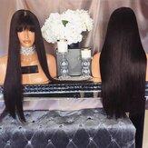 Air Bangs Realistyczne naturalne peruki długie proste włosy