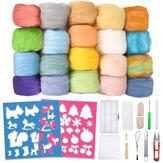 İğne Keçesi Starter Kit 24 Renk Doğal İğne Keçe Yün Seti ve Yün Keçesi 3662466 DIY Keçe El Sanatları Projesi için