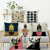 INS Nordic Pineapple Cactus Geometric Style Linen Cushion Cover Home Sofa Art Decor Seat Pillow Case