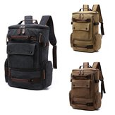 Men Retro Style High Capacity Vintage Canvas Backpack With Multi Pockets Satchel Travel Shoulder School Bag For Camping Riding