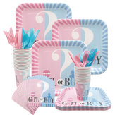 65/112/114PCS/Set Gender Reveal Party Supplies Baby Shower Decorations Boy or Girl Disposable Tablewear Cups Plates Napkins