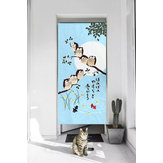 Japanese Doorway Curtains Owls Branch Home Canteen Cafe Luck Pattern Doorway Privacy Tapestry Home