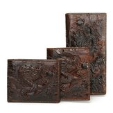 Menn Ekte skinn Dragon Long Short Wallet Coin Money Card Holder Clutch Purse