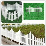 12 White Flexible Plastic Garden Picket Fence Lawn Grass Edge Edging Border Decorations