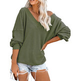 Casual Solid Color V-neck Long Sleeve Loose Women Sweaters