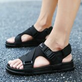 Pria Hook & Loop Opened Toe Casual Beach Soft Sandal Tunggal