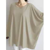 Women Causal Crew Neck Loose Solid Color Blouse