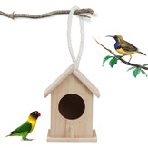 Wooden Bird House Feeder Wild Birds Nest Home Garden Nesting With Hanging Bird Net