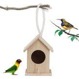 掛かる鳥の網が付いている木の鳥の家の送り装置の野鳥の巣の家の庭のネスティング