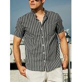 Erkekler Çizgili Casual Kısa Kollu Gömlek V Yaka Düğme Aşağı Tatil Gömlek s Tops Tee