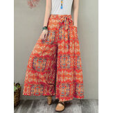 Wide Leg Women Floral Printed Elastic Waist  Side Pockets Trousers Pants