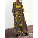 Vintage Women Loose Art Print robe à manches 3/4 à col rond