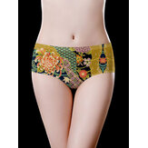 Seamless Ice Silk Mid Waist Cotton Crotch Printed Briefs