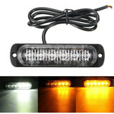 18W 6 LED Auto stroboscoopverlichting Bar 12V-24V Noodwaarschuwing Knipperlamp Amber / Wit / Amber + Wit