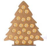 MDF Ahşap Noel Advent Takvimi Noel Ağacı Dekorasyon 24 Dairesel Çikolatalar Şeker Standı Raf Uyar