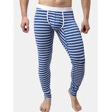 Mens Fall Winter Striped Thermal Pants Long Johns Pajamas