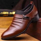Men Pure اللون Slip On Casual Soft Oxfords Business Leather