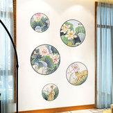 Miico FX82033 2PCS Lotus Painting Sticker Home Study Room Etiqueta decorativa Etiqueta de la pared Etiqueta combinada