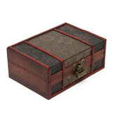 Vintage Wooden Jewelry Storage Box Desktop Books Files Document Organizer Bookcase Handmade Decorative Jewelry Treasure Lock Chest