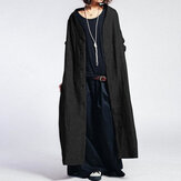 Femmes Solid Color Vintage Button Casual Long Coats