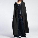 Mulheres cor sólida botão vintage casacos longos casuais