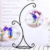 Bola de suspensão de vidro transparente Mini tanque de peixes de aquário Home Office Desktop Stand Decorations