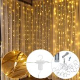 3M * 3M USB 300 LED gordijn String Light met 10 haken voor Outdoor Festival Decor Christmas Wedding DC5V