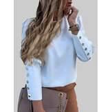 Solid Color Back Button Long Sleeve Causal Blouse