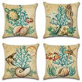 Cartoon Ocean Creature Turtle Pillow Case Cotton Linen Square House Decor Cushion Cover