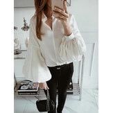 Mulheres manga comprida com decote em v solta blusa casual sólida Camisa