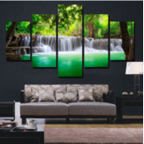 Randloze landschappen Groene watervallen High Definition Spray Paintings voor kamerdecoraties