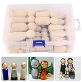 50Pcs/set Wooden Peg Doll Unfinished People Children Painted Wood Art Craft
