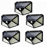 5pcs 100 LED Solar Powered PIR Motion Sensor Wall Light Outdoor Garden Lamp 3 Modes