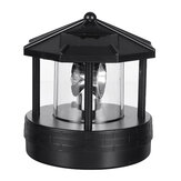 Black LED Solar Powered Lighthouse 360° Rotating Light Outdoor Garden Desk Lamp