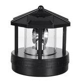أسود LED منارة تعمل بالطاقة الشمسية ضوء دوار 360 درجة خارجي حديقة مصباح