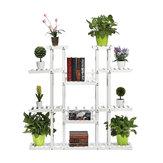 9 niveaux support de plante en bois pots de fleurs carbonisés organisateur étagère support de support d'affichage pour intérieur extérieur patio jardin coin balcon salon