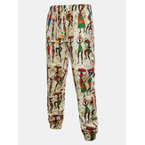 Cotton Linen Drawstring Ethnic Style Casual Pants