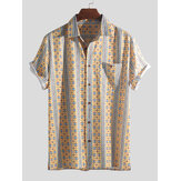 Men Ethnic Pattern Print Vintage Chest Pocket Holiday Shirts